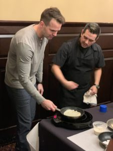 Chef Octavio teaching how to flip a crepe in our iron chef crepe cookoff
