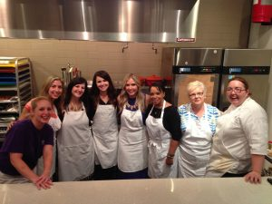 group in the Langlois kitchen for a fun with crepes cooking class