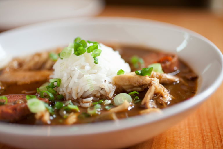 Chicken and andouille gumbo in a bowl at Langlois Cooking class